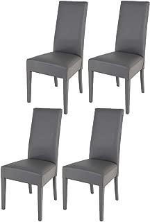 Tommychairs sillas de Elegancia y Design - Set de 4 Sillas Luisa para Cocina, Comedor, Bar y Restaurante con Estructura en Madera de Haya y Asiento tapizado en Polipiel Color Gris Oscuro