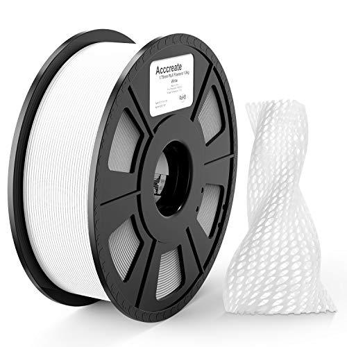 ACCCREATE Filamento PLA 1.75 mm, Impresora 3D Filamento Precisión Dimensional +/- 0.02 mm, 1kg Spool (2.2 lb) Materiales de Impresión 3D Filamento para FDM Impresora 3D, Blanco