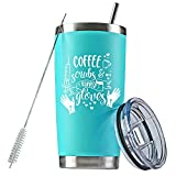 Coffee Scrubs and Rubber Gloves Nurse Tumbler, CNA Gifts, RN Nurse Gifts for Women, Nurse Gifts, 20 oz Stainless Steel Vacuum Insulated Nurse Coffee Mug (Mint Blue)
