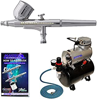 Professional Master Airbrush Multi-Purpose Gravity Feed Airbrushing System Kit - Powerful Air Compressor with Air Storage Tank, Model G22 Gravity Feed Dual-Action Airbrush, 1/3 oz Fluid Cup, 0.3mm Tip