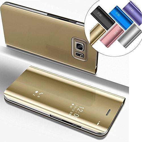 LEMAXELERS Galaxy S6 Edge Plus Hülle Spiegel Mirror Makeup Plating PU Flip Tasche Ledertasche Schutzhülle Handyhülle mit Ständer-Funktion Hülle Etui für Galaxy S6 Edge Plus,Mirror PU:Gold