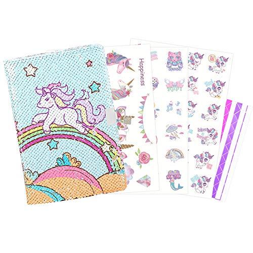 ZERHOK Diario Segreto Unicorn,Design con Paillette Private Girl Journal Sparkly A5 Notebook Magic Keeper Secret con Serratura e Chiave per Ragazze Bambini