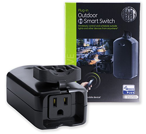 GE 14284 Enbrighten Z-Wave Plus Smart Outdoor Switch, 1-Outlet Plug-In, Weather-Resistant, Works with Alexa, Google Assistant, for Landscape & Seasonal Lighting. Hub Required, Black