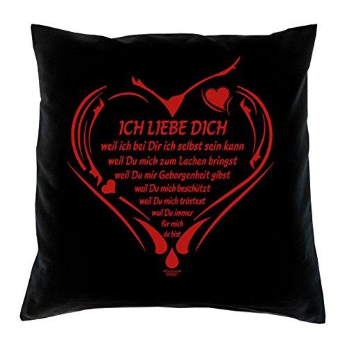 Soreso Design Ich Liebe Dich Kissen inkl. Füllung Romantische Geschenkidee für Verliebte Geschenk für Frauen und Männer Liebe Liebesbeweis Liebeskissen Farbe: schwarz