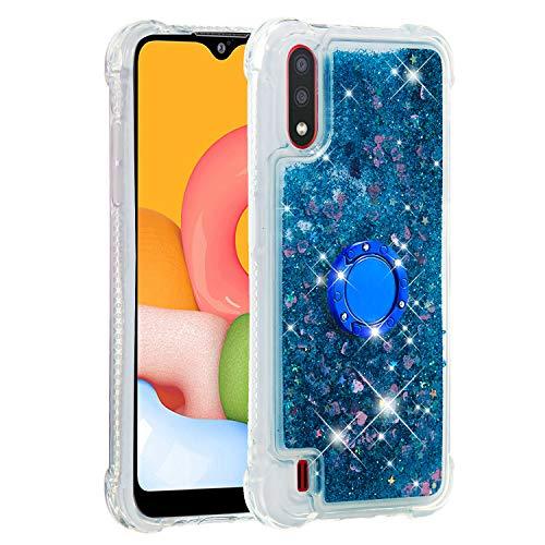 Coque pour Samsung Galaxy A01,Brillante Cristal Diamant Anneau Socle de téléphone Liquide Dégradé Transparente Silicone TPU Étui Antichoc Coques(Amour Bleu)