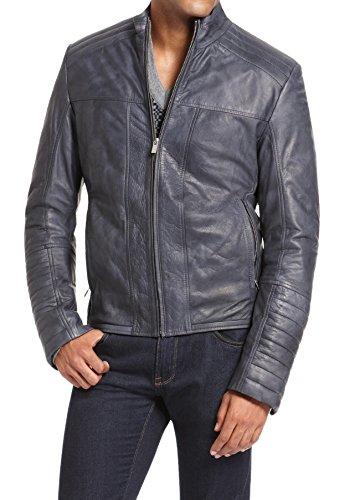 Chaqueta de cuero acolchada para hombre 100% auténtica suave piel de cordero Biker Bomber NLJUK394