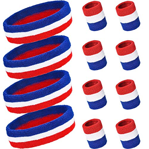 PAMASE 4 Sets Striped Sweatbands Set, Including 4 pcs Sports Headbands and 8 pcs Wristbands Cotton Sweat Band American Flag Style for Tennis Athletic Men Women