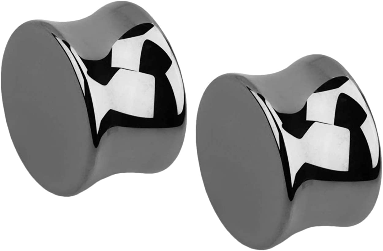Pair of Square Stones Black Ion Surgical Steel Saddle Double Flare Ear Lobe E156