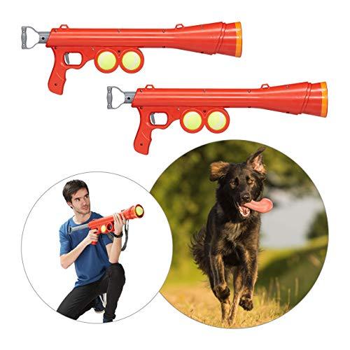 Relaxdays 2 x Ballkanone Hund, inklusive 4 Tennisbälle, Ballpistole bis 20 m Reichweite, alle Hunderassen, Ballwerfer, rot