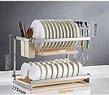 Escurridor Muebles dos capas de soporte Cubiertos, cocina de acero inoxidable de memoria 304, con los palillos cart antioxidante gancho