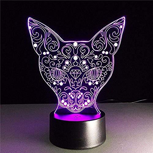 lampara niña luz nocturna led Cat Halloween, Acción de Gracias, Navidad Los mejores regalos Carga USB táctil de 7 colores