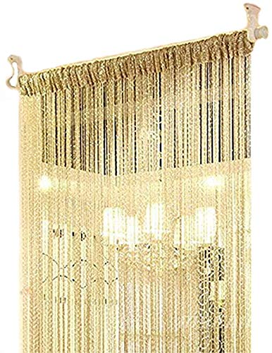 ave split Decorative Door String Curtain Wall Panel Fringe Window Room Divider Blind Divider Tassel Screen Home 100x200centimeter (Champagne18)