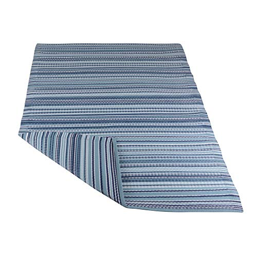 RM Design Indoor & Outdoor Teppich für Terrasse, Balkon & Haus, Blau Gestreift Muster, 90 x 180 cm