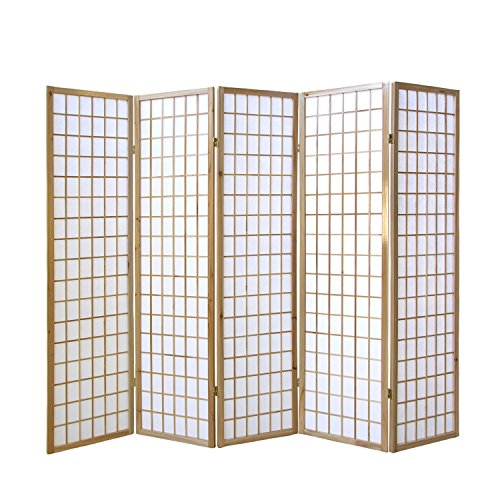 Homestyle4u 76, Paravent Raumteiler 5 teilig, Holz Natur, Reispapier Weiß, Höhe 175 cm