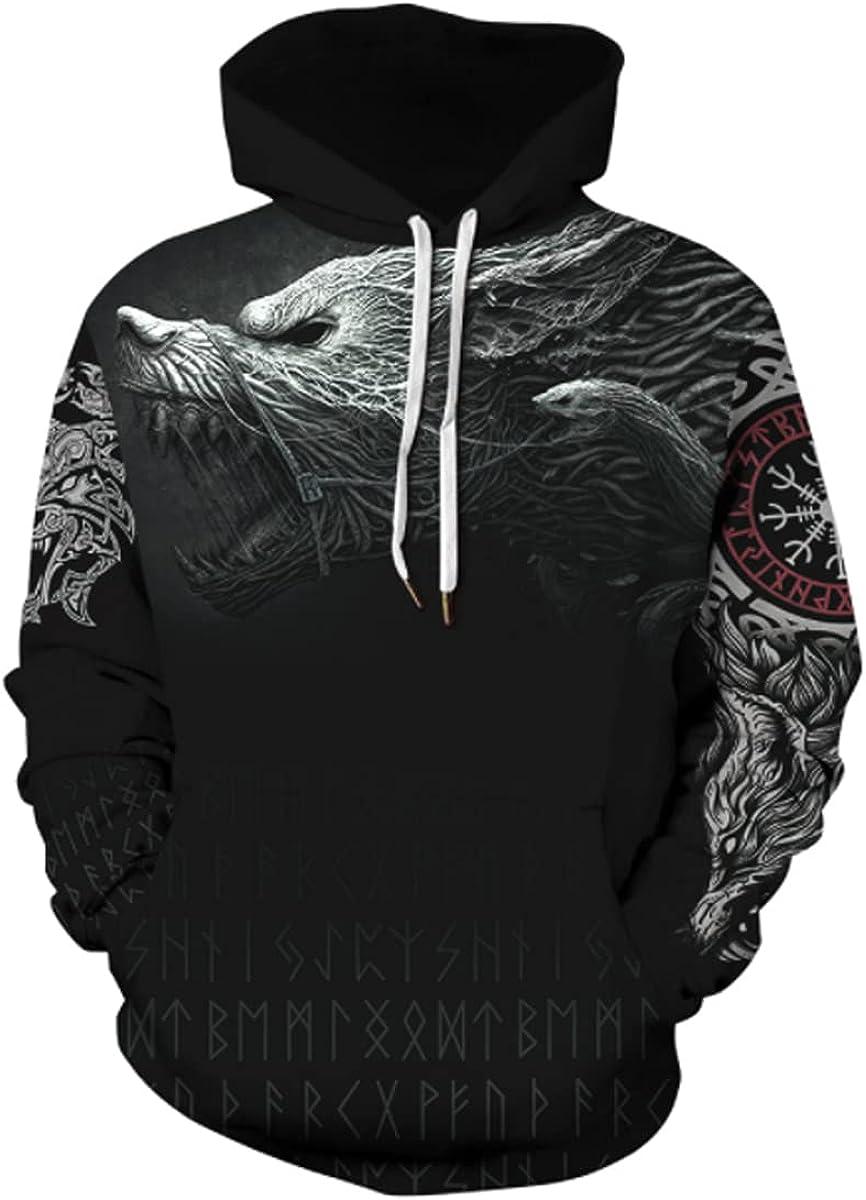 SENDEREAL Men 3D Printed Fashion Active Hoodies Casual Printing Pullover Hooded Sweatshirt Unisex
