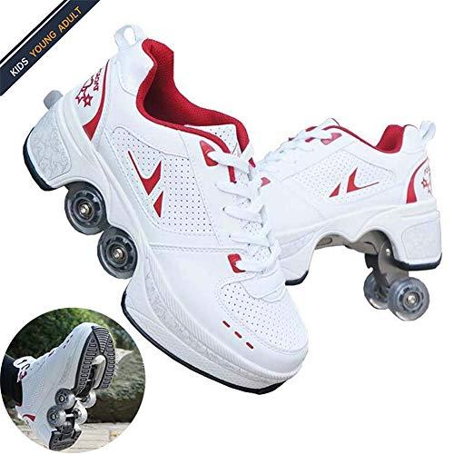 HealHeatersR Roller Skate Quad Schaatsen Mannelijke en Vrouwelijke Schaatsen Volwassen Kinderen Automatische Walking Schoenen Onzichtbare Pulley Schoenen Schaatsen met Dubbele Rij Vervormen Wiel