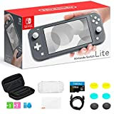 """Newest Nintendo Switch Lite Game Console, 5.5"""" LCD Touchscreen Display, Built-in Plus Control Pad, Gray, Bundled with TSBEAU 128GB Micro SD Card & 8 in 1 Carrying Case Cover Protector Accessories"""