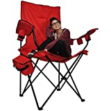 Prime Time Outdoor Giant Kingpin Folding Chair Chair Hunter Camouflage with 6 Cup Holders Cooler Bag and Portable Carrying Case (Red)