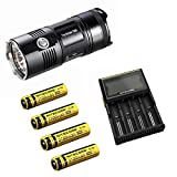 Nitecore TM06 Luz LED 3800 lúmenes, 4 ledes CREE XM-L2 U2 Tiny Monster + 4 baterías NL188 (3100 mAh) + cargador Nitecore D4