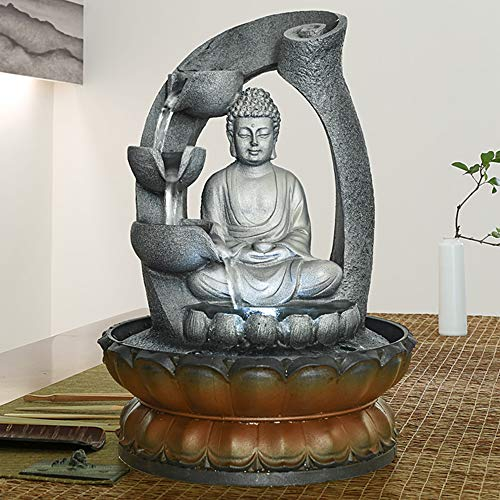 PeterIvan Buddha Fountain - 11in Buddha Tabletop Water Fountain for Home&Office Decoration, Decorative Sculpture with LED Light&Circular Water Flow for Good Luck Keeping (Grey, 11inch)