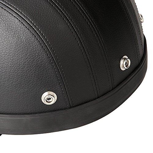 KKmoon Motorrad Scooter gesichtsoffen halbe Leder Helm mit Visier UV-Schutzbrillen Retro Vintage-Stil 54-60cm(Schwarz) - 6