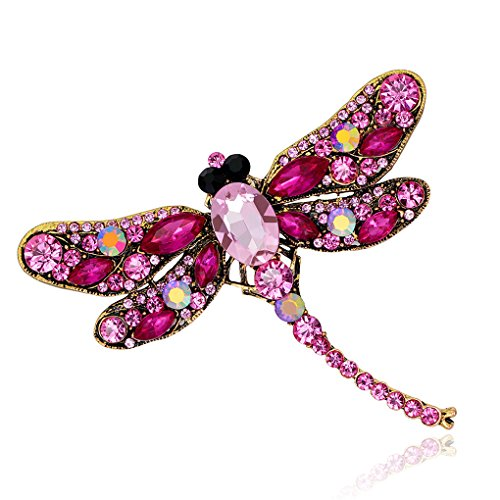 Strass Dragonfly Broche Pin Animal Broche Dames groen, Broches dames steenrood, Blauwe Jurk Sjaal Broche Pins