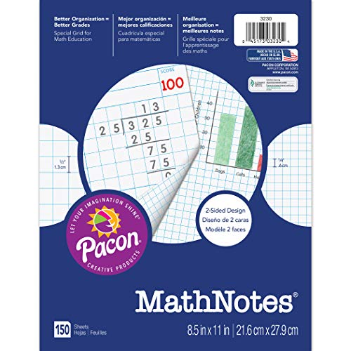 MathNOtes 3230 3-Hole Punched Grid Paper, 8-1/2' x 11' Size, 1/2' Grid Ruling (Pack of 150)