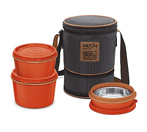 Milton Flexi 2+1 Inner Stainless Steel Lunch Box with Jacket, Set of 3, Black