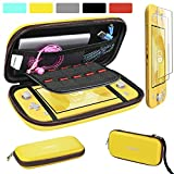 ivoler Carrying Case for Nintendo Switch Lite with 2 Pack Screen Protector, Ultra Slim Portable Hard Shell Pouch Travel Game Bag for Switch Lite Console Accessories Holds 10 Game Cards, Yellow
