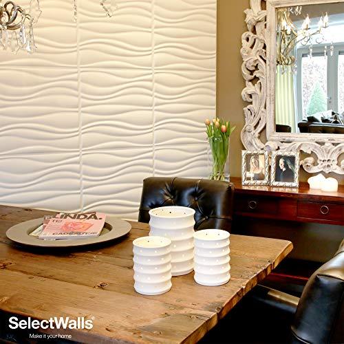 Wandverkleidung aus Holz, Jade  10 Wandpaneele 3D SelectWalls 50 x 50 cm   2,5 m² Wandverkleidung zum Bemalen   3D-Wanddeko mit Innenauskleidung   3D-Wandpaneel