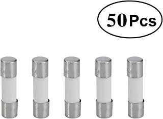 UEETEK 250V 6.3A Slow Blow Ceramic Fuse Tubes Fuses T6.3A (50 Pack, 5x20mm)