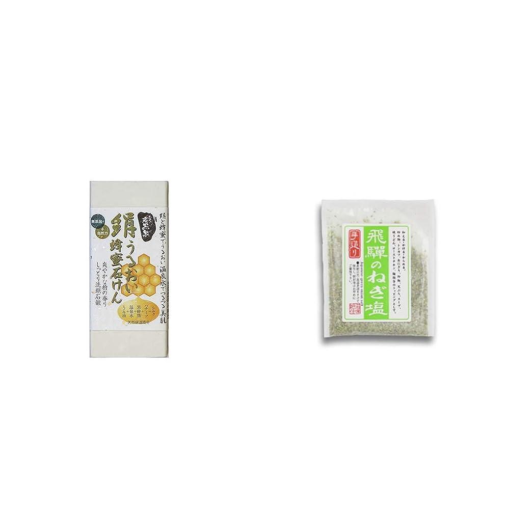 ジャンク外側開業医[2点セット] ひのき炭黒泉 絹うるおい蜂蜜石けん(75g×2)?手造り 飛騨のねぎ塩(40g)