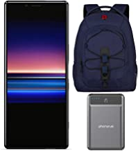 "Sony Xperia 1 Unlocked Smartphone 6.5"" 4K HDR OLED CinemaWide Display, 128GB - Black - (US Warranty) with 16-inch Laptop Backpack and Battery Pack Bundle (3 Items)"