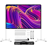 Projector Screen with Stand 100 Inches Wensha Outdoor Portable 4k HD Double Sided Home Theater Projector Screen Frame 16:9 3D Foldable Movie Projection Screen for Outdoor Use