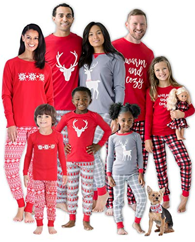 SleepytimePJs Christmas Family Matching Mix and Match Red Holiday Pajama PJ Sets (STM-3039-W-1136-Lrg)