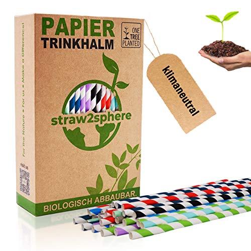 Straw²Sphere® Papierstrohhalme | 160 St. | 1 Baum für jeden Kauf | Strohhalme biologisch abbaubar | Pappstrohhalme ökologisch | Trinkhalm umweltfreundlich | bunt gemischt |