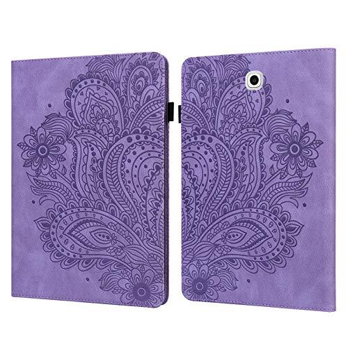 ShinyCase PU Piel Tablet Case Paisley en Relieve Tapa Funda para Samsung Galaxy Tab S2 9.7/SM-T815 SM-T813, Tablet Protectora Carcasa con Soporte Ranura para Tarjeta Magnética Cubierta Púrpura
