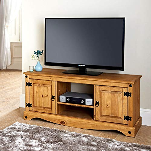 Mews Corona 2 Door Flat Screen TV Unit in Solid Pine