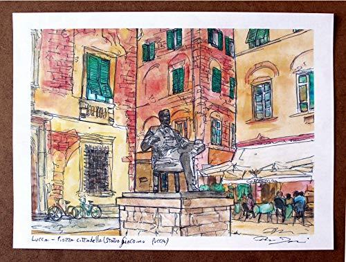 Lucca, Piazza Cittadella- Original Druck, erstellt vom Künstler Davide Pacini - Größe cm 29,7x21 cm, Material, A4-Druckpapier, 80g / m² - Hergestellt in Italien, Toskana, Lucca.