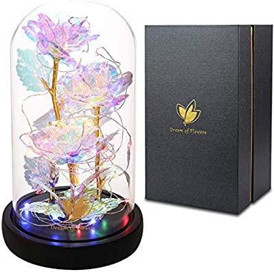 24K Colorful Rose Beauty and The Beast Rose Artificial Flower Unique Gifts Valentine's Day Thanksgiving Mother's Day Girl's Birthday Gifts,Galaxy Rose Suitable for Home Decoration (Colorful Roses)
