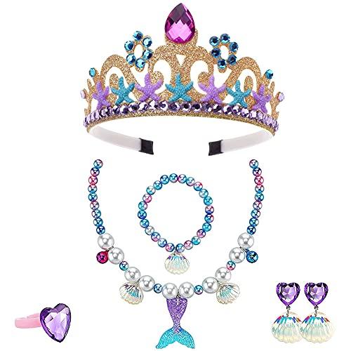 6 Piezas de Accesorios de Vestir de Sirena, Princesa, Corona Amarilla, Collar, Pulsera, Anillo, Pendientes, Adecuados para Disfraces, Cosplay Carnaval, Cumpleaños Party, Halloween