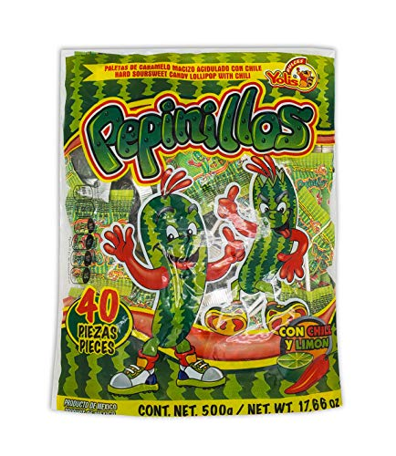 Yolis Pepinillos Chili infused Cucumber Pops 40 pieces (560 grams/ 19.7oz) original Intense hot Flavored Lollipops rebanaditas super spicy intense tasty mexican candy snacks pepino con chile paletas