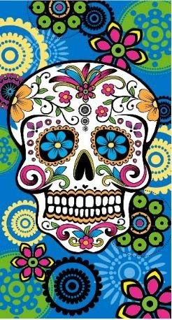 Regalitostv (Calavera Tatoo Azul) Day of The Dead* Toalla Playa Grande 95 X 175 CM Tacto Terciopelo 100% Microfibra (300g) (Calavera Tatoo Azul)