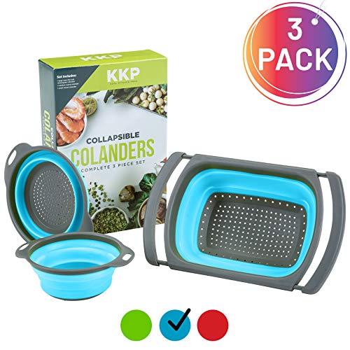 Kool Kitchen Pros - Juego de 3 coladores plegables de silicona libre de BPA, coladores y coladores de arroz de malla de plástico para colador de arroz y pasta azul