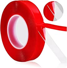 Odowalker 32.8ft(11 yards/10m) PET Acrylic Clear Double Sided Adhesive Tape Weatherproof Heavy Duty Glue Incredibly Strong Double-Sided Tape for Industry, Auto and Household (20mm×10m)