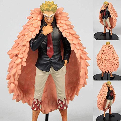Ymdmds Anime-Skulptur Sammler One Piece Doflamingo Die Grandline Men Vol.Schwarzer Anzug Big Mantel Ver PVC-Modell-Dekoration Spielzeug, ca. 18cm in der Höhe