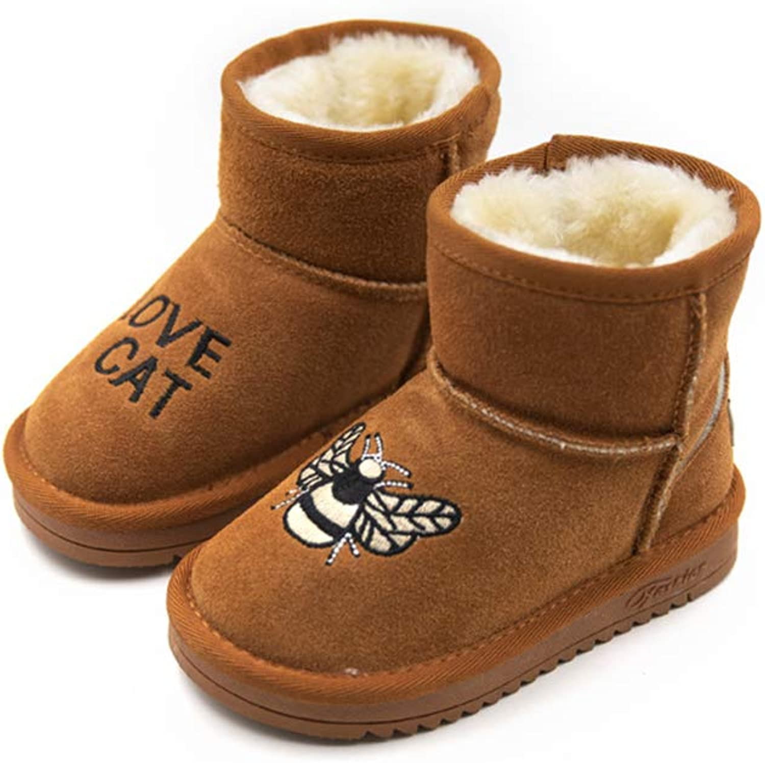 Fancyww Boy's Girl's Genuine Leather Winter Warm Ankle Boots Casual shoes