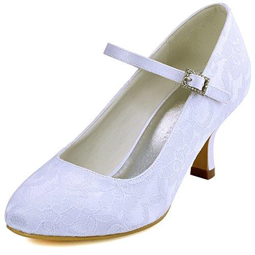 ElegantPark EP1085 Mary Jane Round Toe Lace Zapatos de Novia Mujer Blanco Talla EU 42