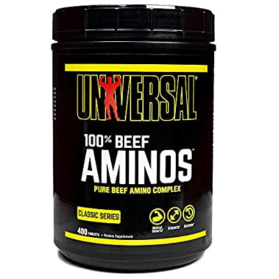 Universal Nutrition - 100% Beef Aminos -3g of Beef Protein Isolate for Recovery and Growth - 400 Tabs