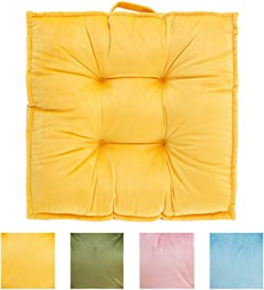 blue page Large Square Velvety Floor Pillow - Big Chair Cushion Yellow Floor Pillows Seating Tatami Giant Futon Pad Window Pad Yoga Mat 23.6x23.6 Inches